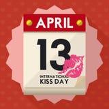 表明国际亲吻天的活页日历在例证4月13日,传染媒介 图库摄影