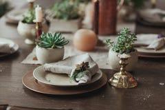 表服务与晚餐的多汁植物在客厅 关闭在土气餐巾的看法 免版税库存图片