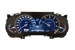 仪表板和数字显示-英里,燃料消费,速度 免版税库存图片