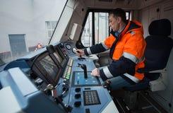 仪表板` s客舱现代高速电力机车EP-2 图库摄影