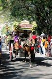 表现周年狂欢节文化nganjuk城市,东部Jav 免版税库存照片