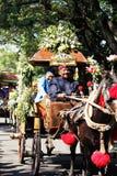 表现周年狂欢节文化nganjuk城市,东部Jav 免版税库存图片