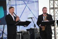 表现艺术家,乐队,管乐器kronwerk黄铜合奏  免版税图库摄影