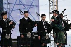 表现艺术家,乐队,合奏苏格兰全国乐器管子和鼓 图库摄影