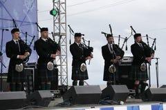 表现艺术家,乐队,合奏苏格兰全国乐器管子和鼓 免版税库存图片