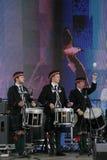 表现艺术家,乐队,合奏苏格兰全国乐器管子和鼓 免版税图库摄影
