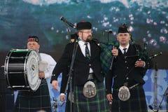 表现艺术家,乐队,合奏苏格兰全国乐器管子和鼓 免版税库存照片