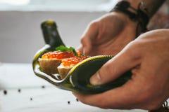 表用被传统化的食物 库存照片