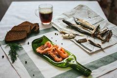表用被传统化的食物 库存图片