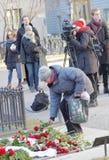 表示对被谋杀的总理奥洛夫・帕尔梅的人们尊敬 库存图片