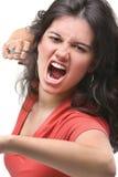 表示的愤怒女性她的年轻人 库存图片