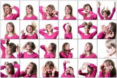 表达一个的少妇的拼贴画不同的情感和感觉 在一个空白背景 免版税库存图片