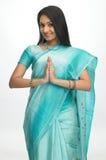 表达式印地安人欢迎妇女 免版税库存照片