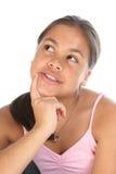 表达式女孩少年认为的年轻人 免版税库存图片