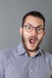 表达有胡子的公司的人触目惊心或一个好主意 免版税库存图片