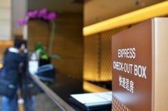 表达检查在旅馆里装箱 免版税库存图片