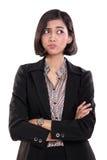 表达的女实业家怀疑,隔绝在白色 免版税库存图片