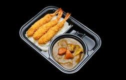 表达送货业务的日本天麸罗咖喱饭箱子 日本传统烹调 免版税图库摄影