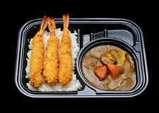 表达送货业务的日本天麸罗咖喱饭箱子 日本传统烹调 免版税库存照片