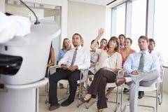 代表问问题在业务会议 库存照片