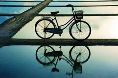 水表面上的自行车refect在日落 免版税库存图片