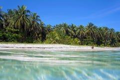水表面和热带沙滩 免版税库存照片