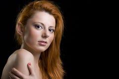 表面头发红色妇女 免版税库存照片