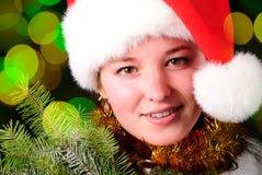 表面女孩圣诞老人 免版税库存照片