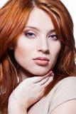表面性感女孩的红头发人 免版税库存照片