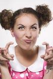 表面滑稽的做的妇女 免版税库存图片