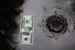 水表面,黑背景上的美元 免版税库存图片