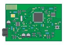 表面登上技术PCBA顶视图 库存图片