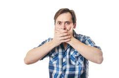 衬衣的人关闭了嘴手 库存图片