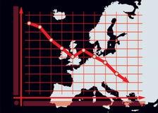 衰落在欧洲地图背景的图解表 免版税库存照片