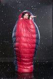 袋子休眠的妇女 免版税库存照片