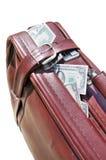 袋子充分的货币老路 免版税库存照片