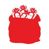 袋子圣诞老人象 有礼物平的样式的大大袋 C的标志 免版税库存图片