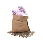 袋子在硬币的欧元。 免版税库存图片