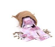 袋子在硬币的欧元。 免版税图库摄影