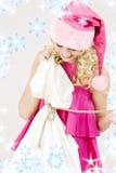 袋子大快乐的女孩辅助工圣诞老人 免版税库存图片