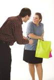 袋子夫妇购物 库存照片