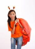 袋子女孩万圣节 图库摄影
