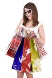 袋子女孩玻璃查出的购物 免版税库存照片