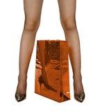 袋子女性行程红色购物 库存照片