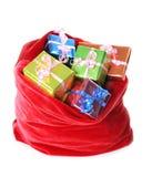 袋子存在红色s圣诞老人 免版税库存照片