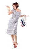 袋子性感的购物妇女 免版税库存照片