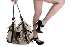袋子方式鞋子 库存图片
