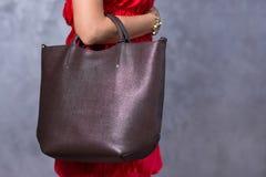 袋子时尚趋向 关闭华美的时髦的袋子 Fashionab 库存图片