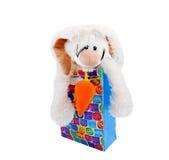 袋子明亮的礼品查出的兔子玩具 免版税库存照片