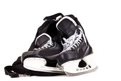 袋子曲棍球对冰鞋 图库摄影
